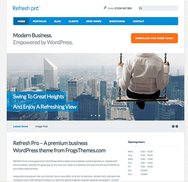 Refresh Pro- A premium WordPress theme for Corporate websites