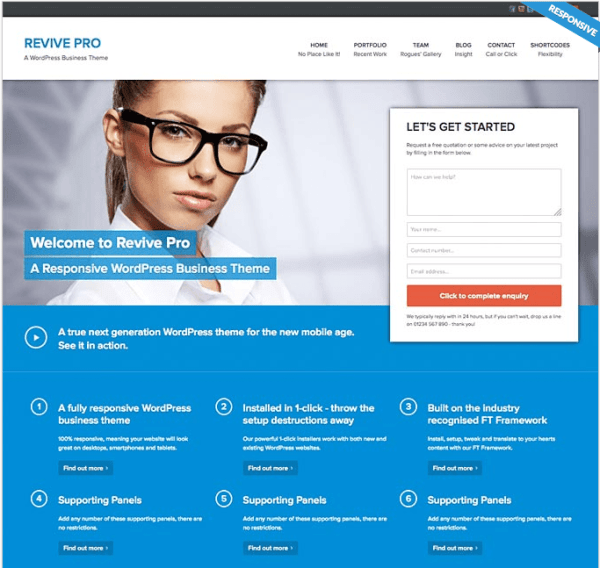 Revive pro Home page