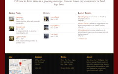 Rezo- Page showing space for welcome message , homepage widgets and footer