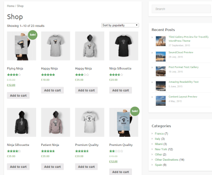 Shop page of Travelify theme