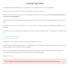 Thesis- Wide landing page template of this theme