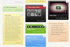 Wumblr- It allows you to add videos, audios, gallery and each is viewd in lightbox