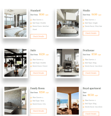 5 Stars- Page featuring all rooms on one page