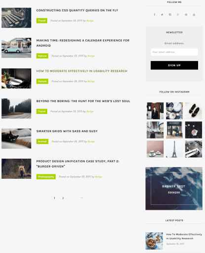 Auriga- Front page with small list blog layout