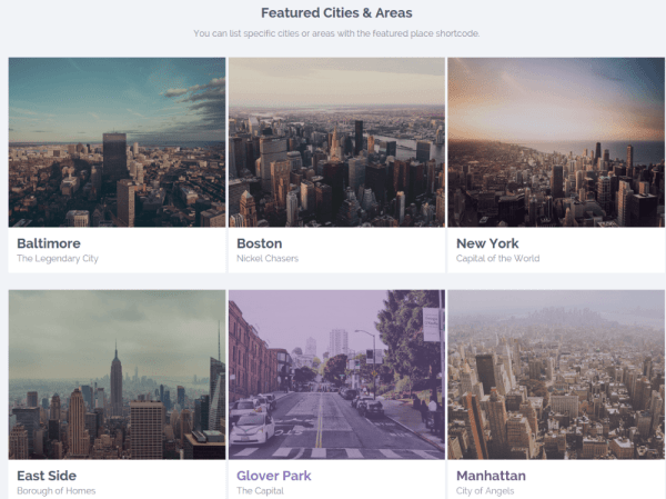 Cities & Area section on WP Rental