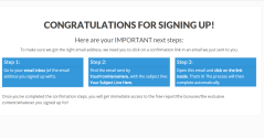 Email confirmation landing page shown by FocusBlog theme