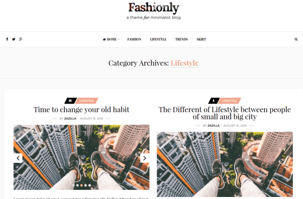 Fashionly Lifestyle Page