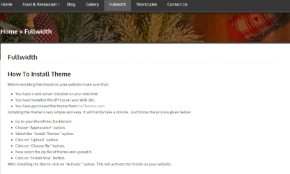 Full width page of WoodPecker theme