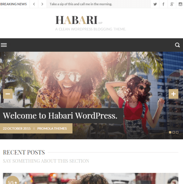 Habari- A WordPress blogging theme