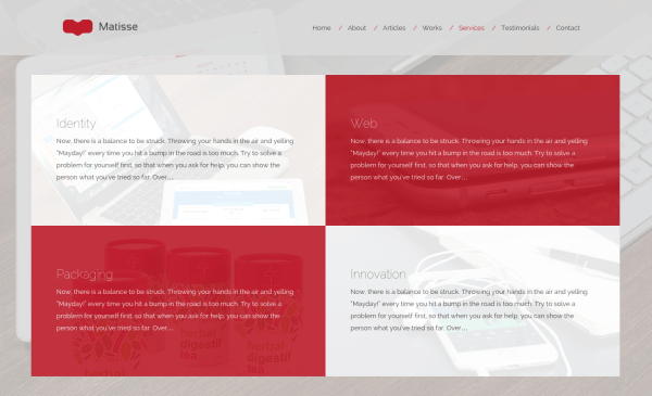 Matisse Services Page