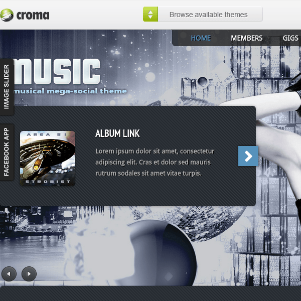 Music: Musicians theme & Facebook app