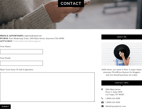 Noir Contact Page