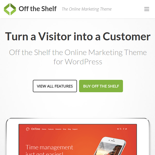 Off the Shelf – Online Marketing WordPress Theme