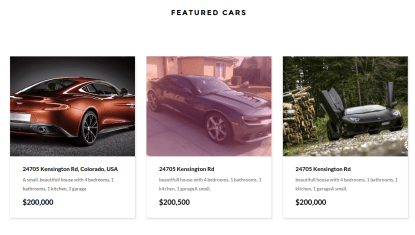 RealHouse and RealCars Featured Cars Section