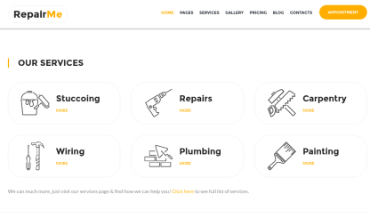RepairMe Services Section