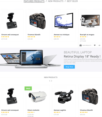 SAHARAN- Home page featured with Product sliders