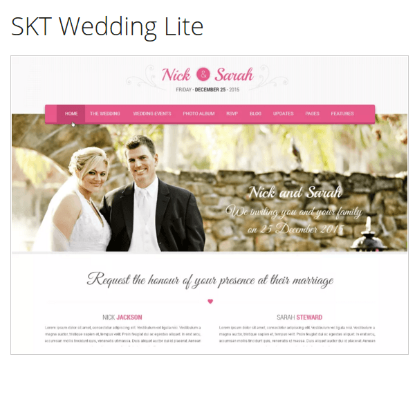 SKT Wedding Lite WordPress Theme Review - PurposeTheme