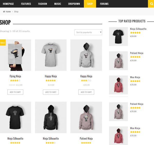 Sense- Shop page built with this theme