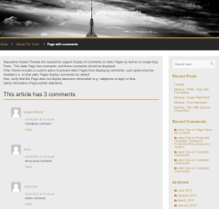 WP Profile theme's page with  threaded comments