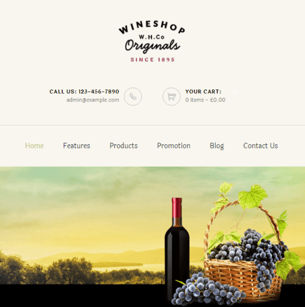 WineShop- A stylish WordPress theme for online food and wine store