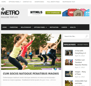 Metro WordPress theme for bloggers and writer