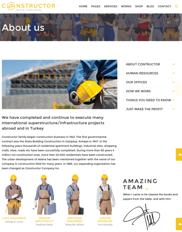 About page of Constructor