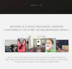 About us page of Brainwave theme
