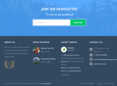 Adventure tours WordPress footer