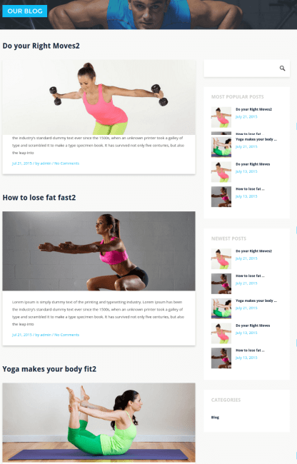 Blog Page with right sidebar - Stayfit