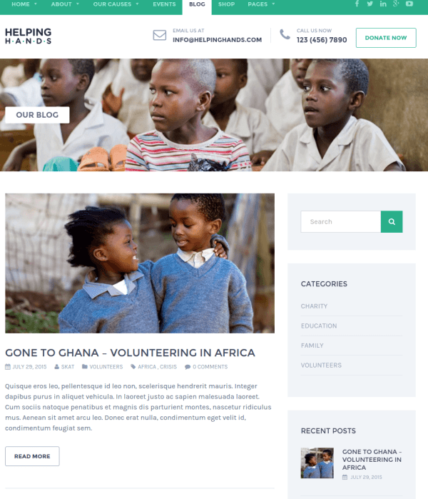 Blogs page of WordPress Helping Hands