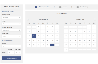 Booking page of Hillter theme