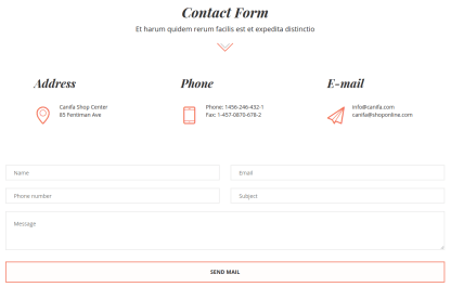 Canifa Contact Form Page