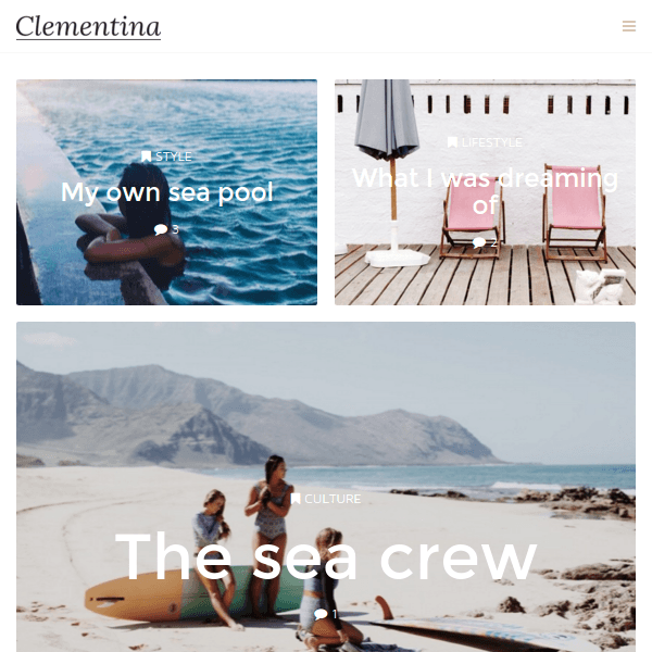 Clementina – Fashion, Travel, Lifestyle Blog Theme