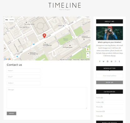 Contact Us Page - Timeline