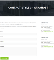 Contact page of Arka