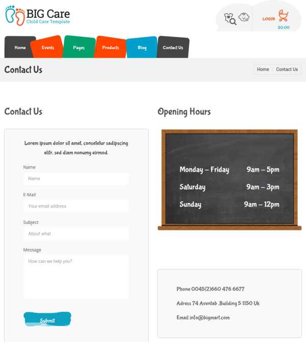 Contact page of Bigcare