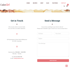 Contact page of CakeArt