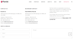 Contact page of Florist