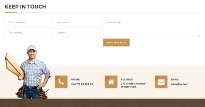 Contact page of Woodworker