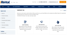 Contact page of quick rental