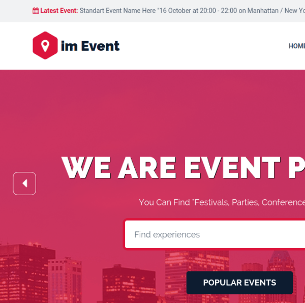Event mgmt homepage