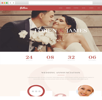 FlatLove - One page Creative Wedding WordPress theme