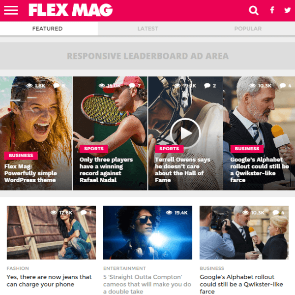 Flexmag – WordPress theme for magazines and news websites.