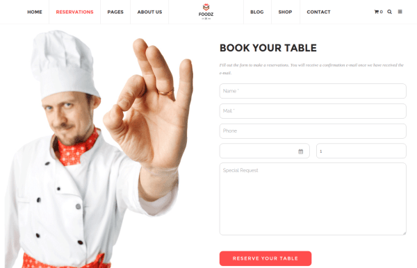 Foodz Reservation Page
