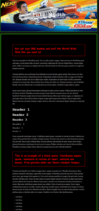 Full width page of 90s Retro theme