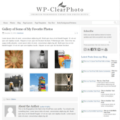 Gallery of WP-clearphoto theme
