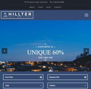 Hillter - Responsive Hotel booking WordPress theme
