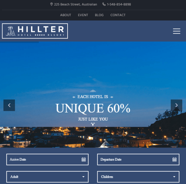 Hillter – Responsive Hotel booking WordPress theme