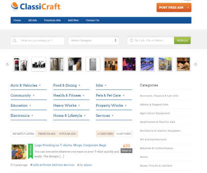 Homepage of ClassiCraft showing all ads.