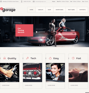 Homepage of Garage